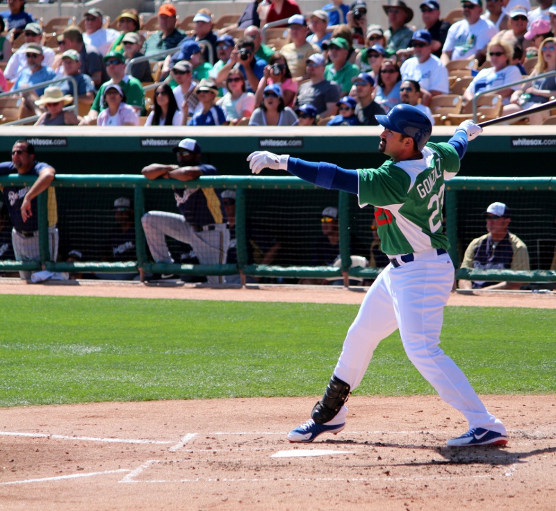 There isn't much depth behind Gonzalez at 1B. (By: Dustin Nosler)
