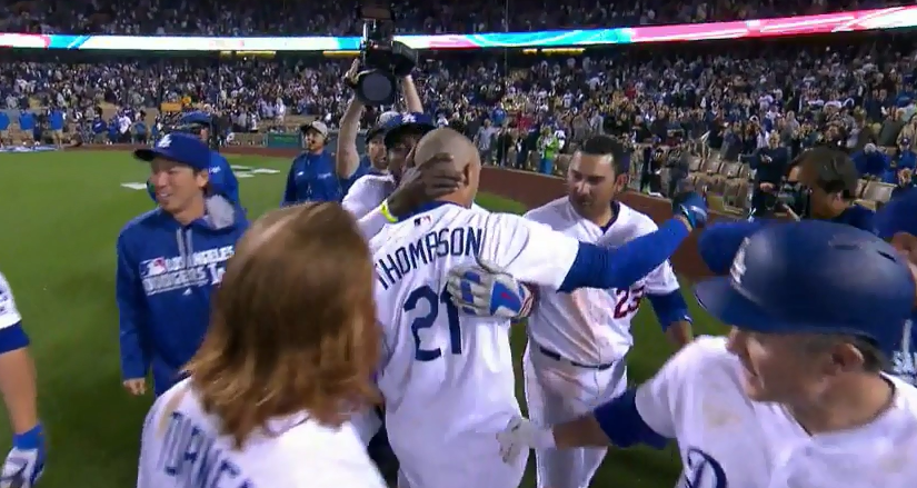 YasielPuigTrayceThompsonGodfatherKiss