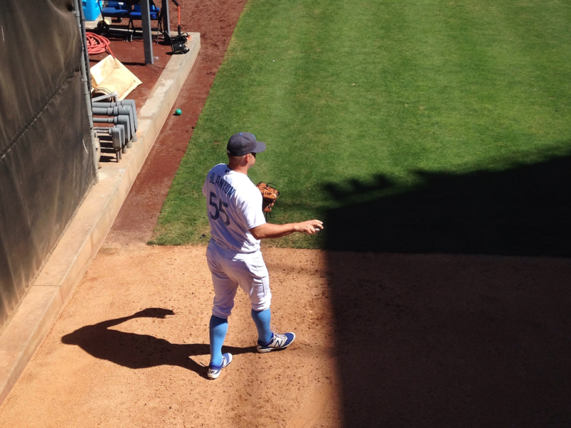 Joe Blanton warming up. Photo: Sarah Wexler